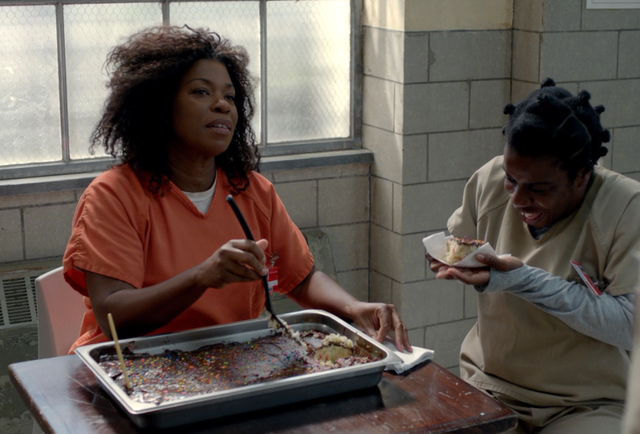 Me eating cake, watching Crazy Eyes eating cake would be nirvana for me.