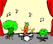 dancing vegies drawception