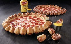 pizza with hotdog crust