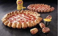 pizza with hotdog crust