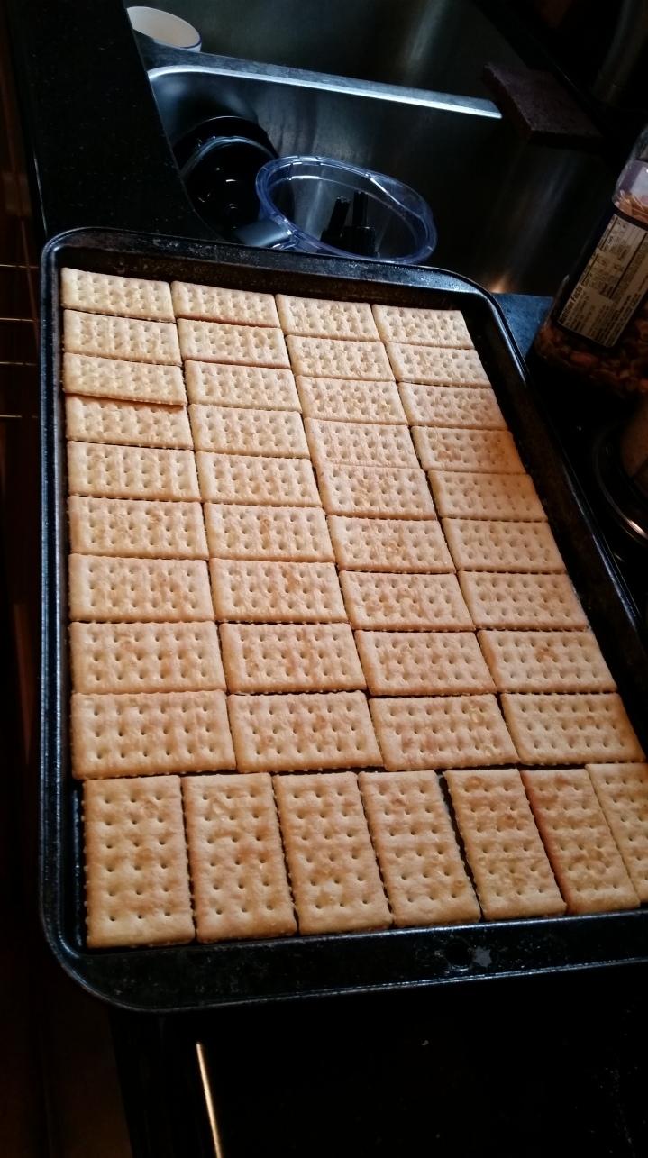crackers in pan